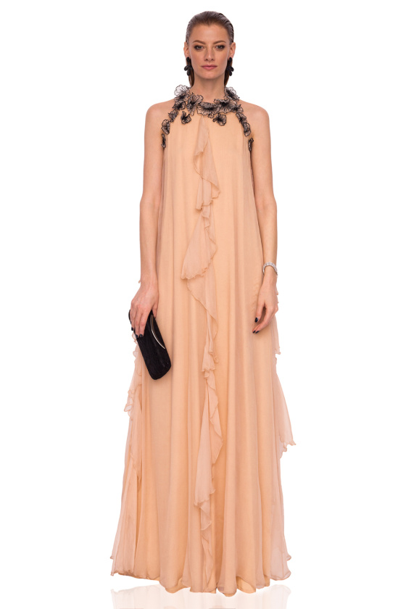 Silk floral details vertical ruffle dress