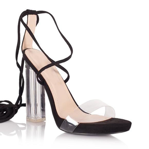 Sandale cu toc transparent