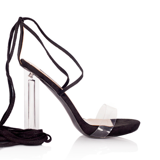 Sandals with transparent heel