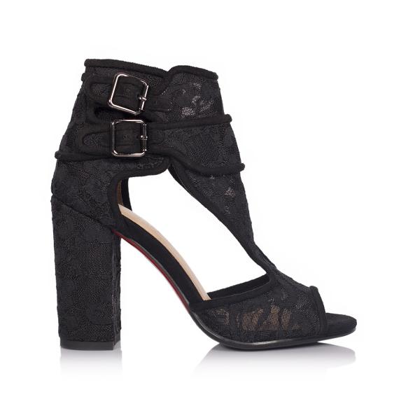 Sandale negre din dantela