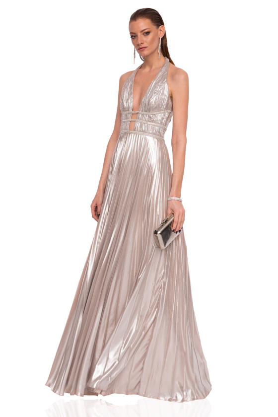 Maxi dress with shiny effect