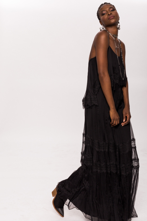 Silk and lace dress with ruffles