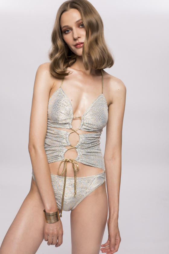Swimsuit with golden  lace-up detail