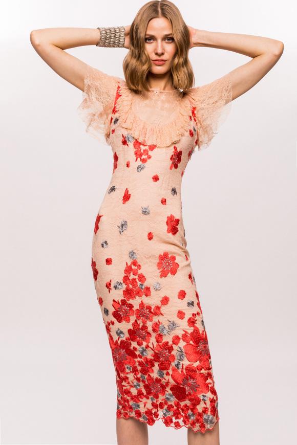 Rochie din dantela cu broderie florala