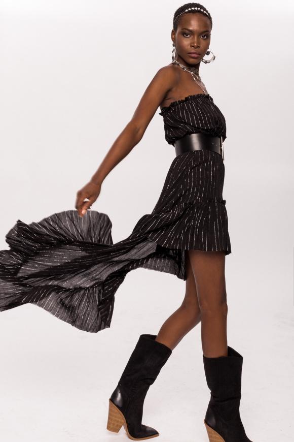 Silver thread asymmetrical dress