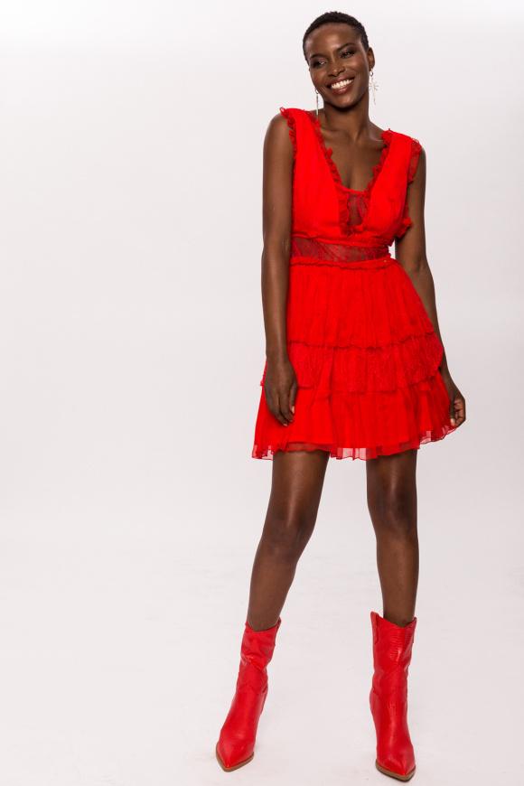 Lace insert silk dress