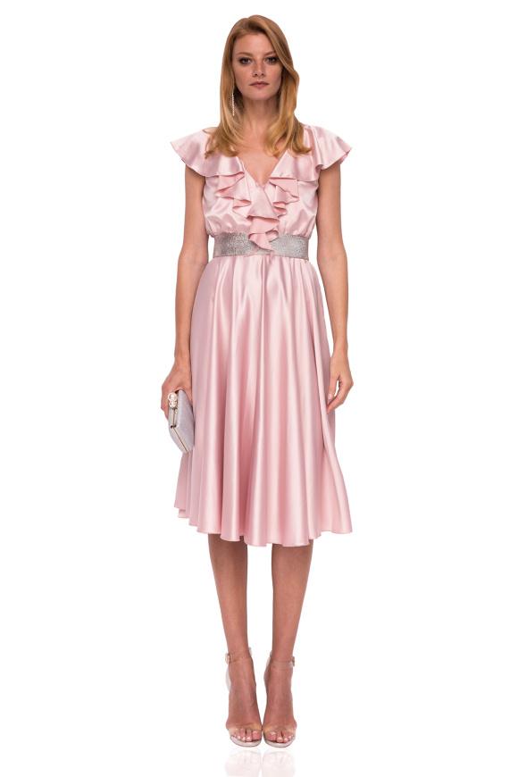 Viscose flared bust ruffle satin dress