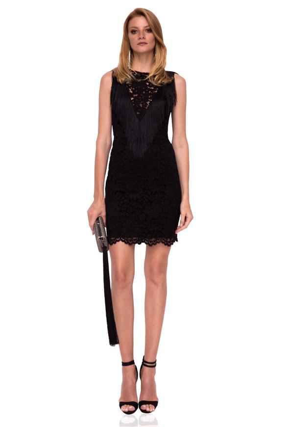 Fringes V neckline lace mini dress