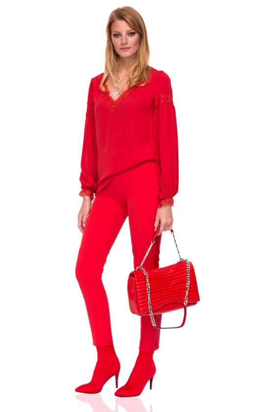 Elegant trousers with side strap