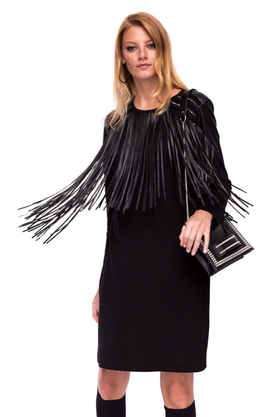 Straight dress with fringe details