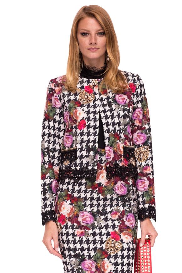 Jacheta cu print floral si dantela aplicata