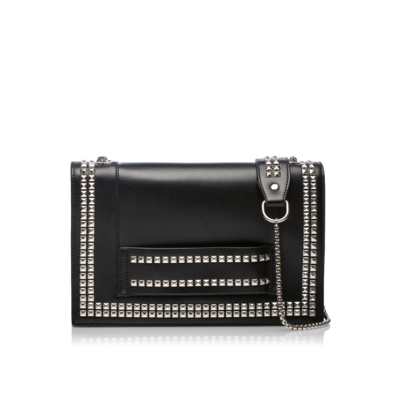Leather shoulder bag with silver studs