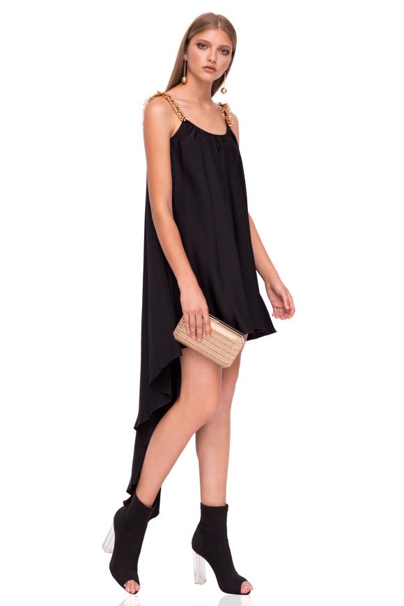 Asymmetric dress with shoulder details