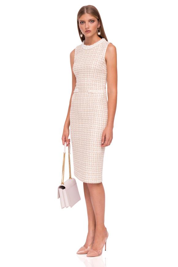 Midi dress with textured fabric