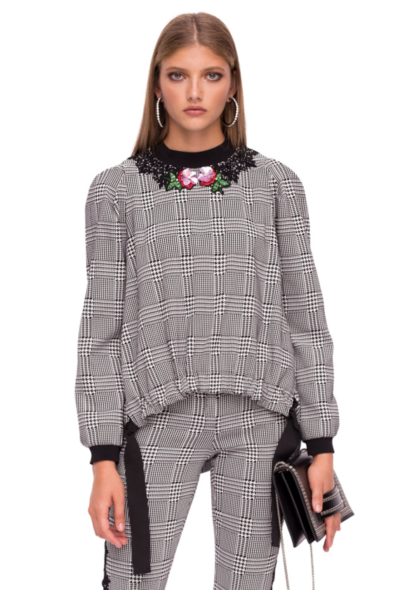 Loose checked top with floral details