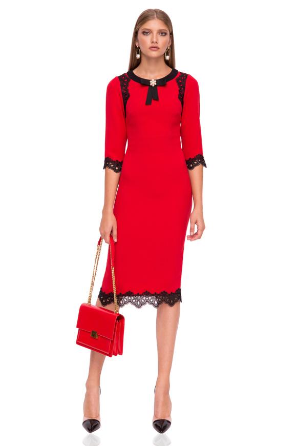 Midi dress with neckline detail