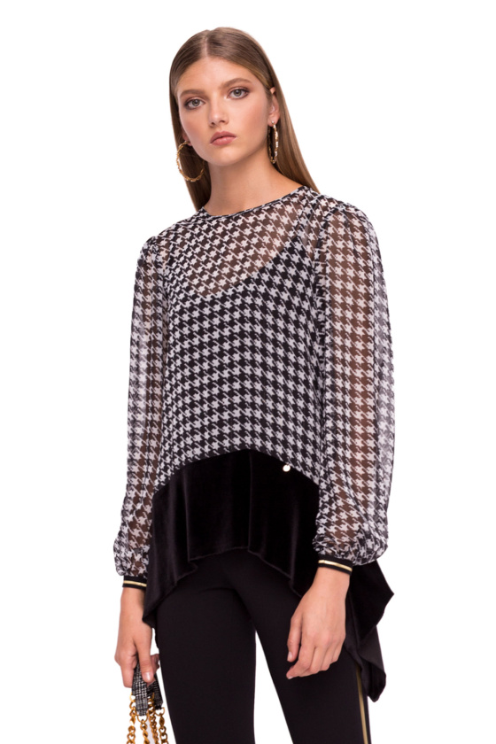 Sheer checked top with long sleeves