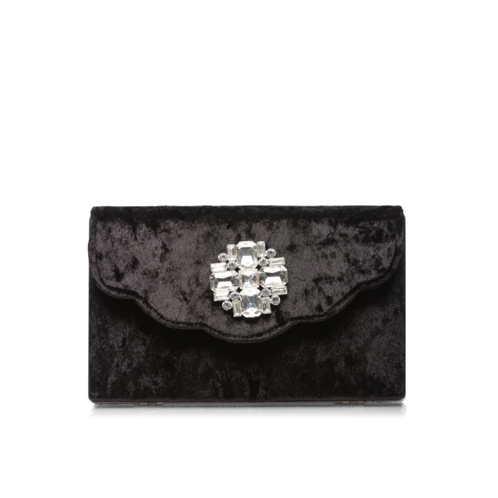 Velvet clutch with sparkling detail