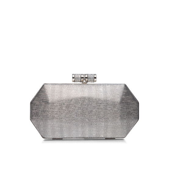 Silver clutch with metallic closure