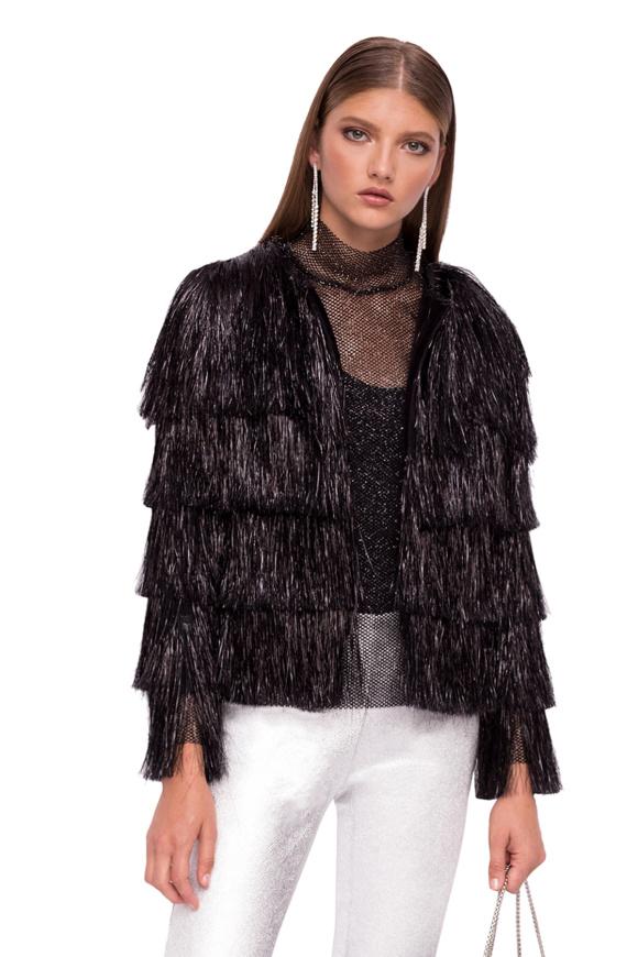 Shiny viscose jacket with fringes