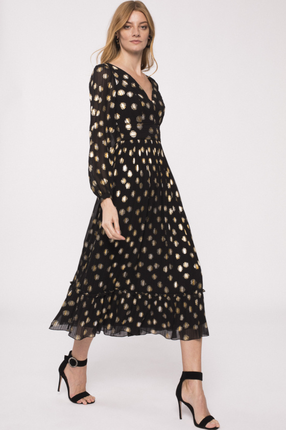 Golden print maxi dress with V-neck
