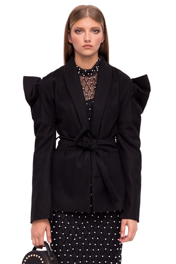 Jacheta din lana cu umeri structurati si cordon in talie