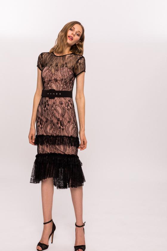 Ruffled lace insert dress
