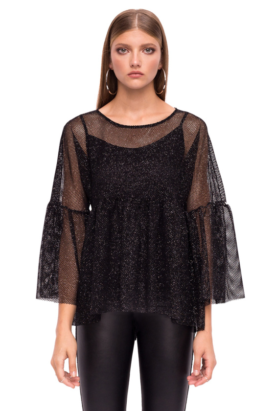 Transparent elegant top with bell sleeves