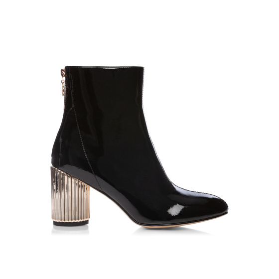 Patent booties with metallic heel