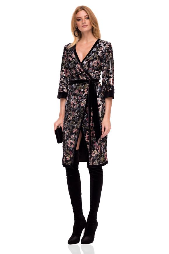 Velvet wrap dress with sequins