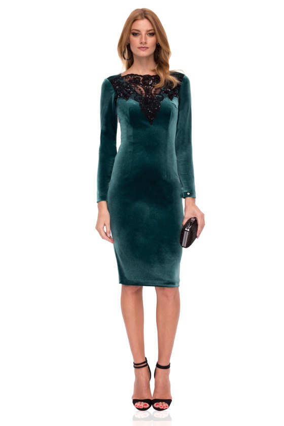 Velvet dress with lace detail