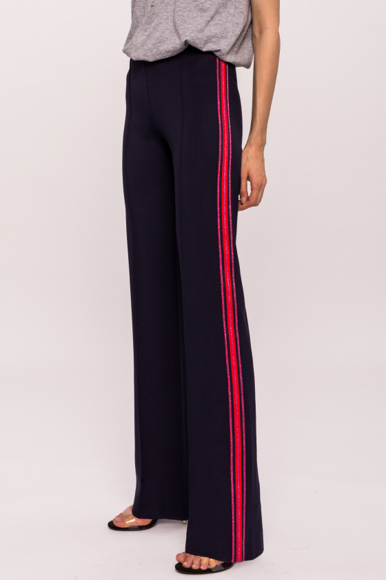 High waisted trousers with side stripe
