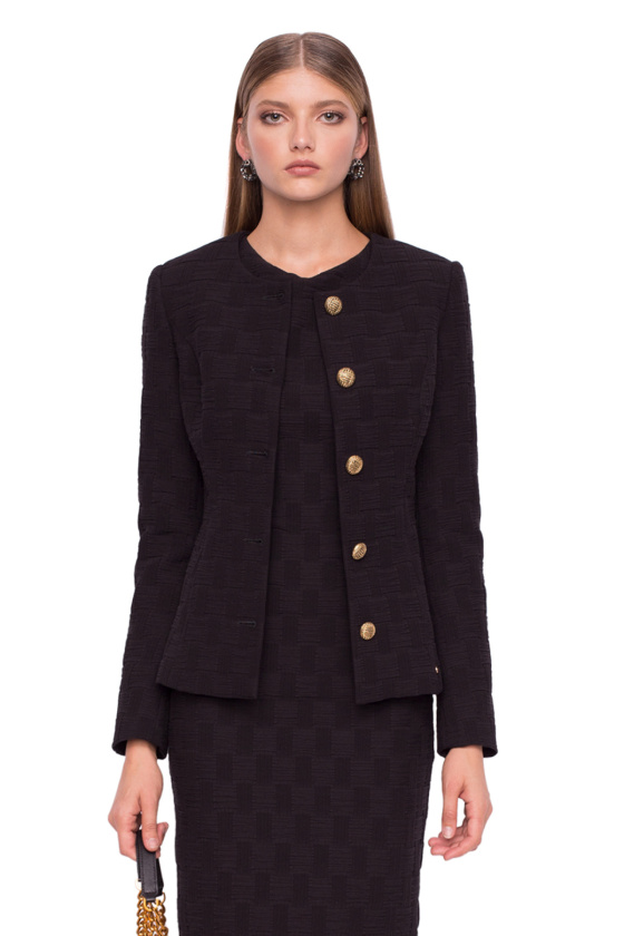 Textured blazer with gold buttons on the left