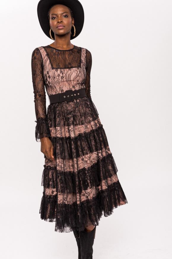 Lace midi dress with ruffles