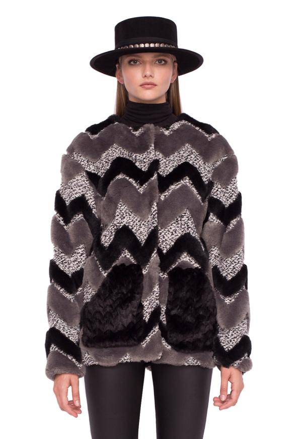Short ecological fur coat