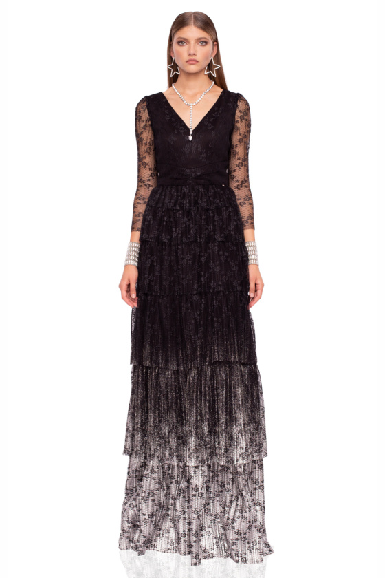 Maxi ruffle dress with long lace sleeves