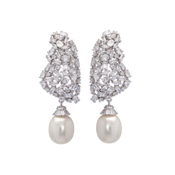 Cercei din zirconiu cu detalii tip perle