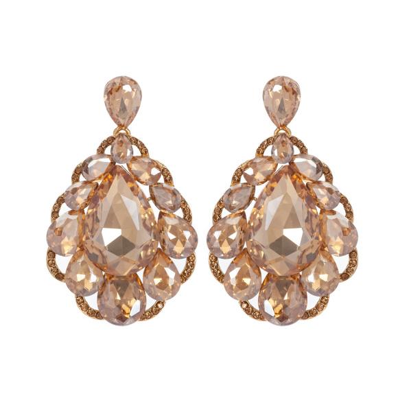 Cercei aurii cu cristale