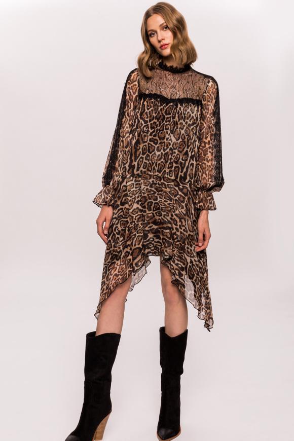 Leopard print asymmetrical dress