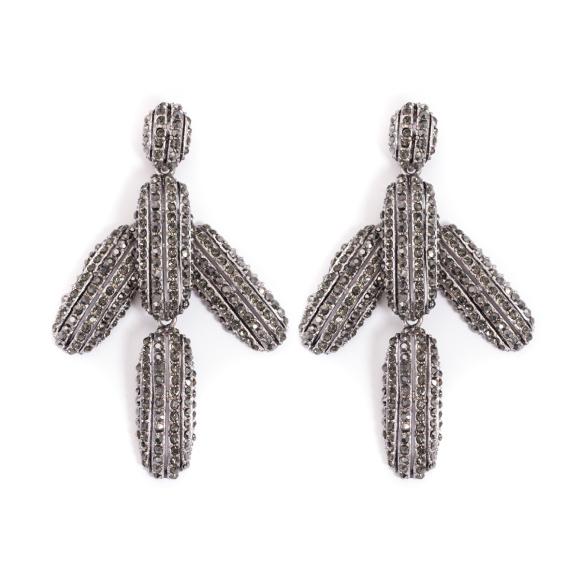 Cercei cu cristale argintii