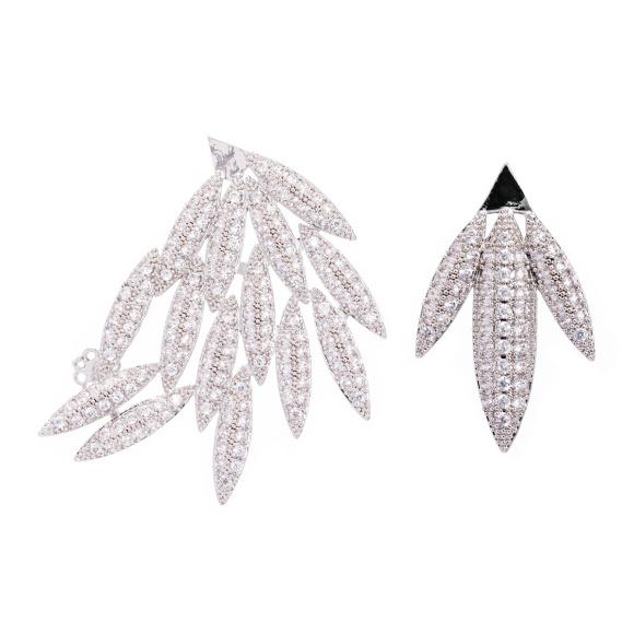 Cercei combinati cu cristale de zirconiu