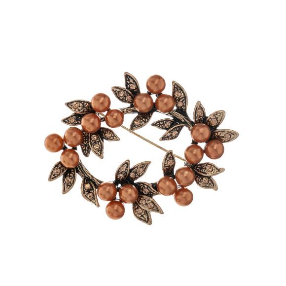 Brosa metalica cu detalii tip perle