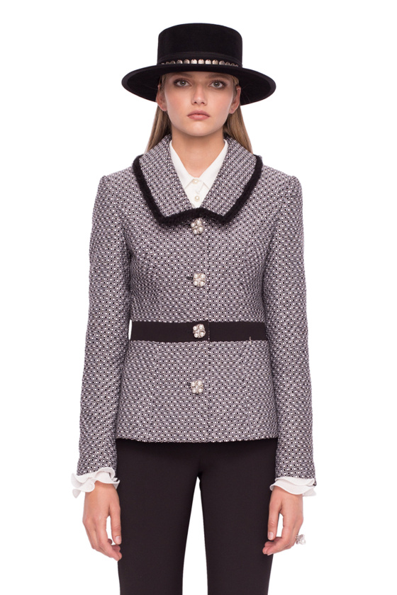 Textured fabric blazer with pearl buttons