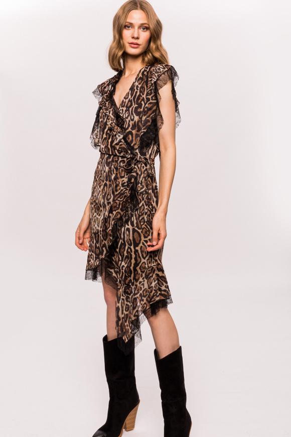Rochie asimetrica cu print leopard si volane