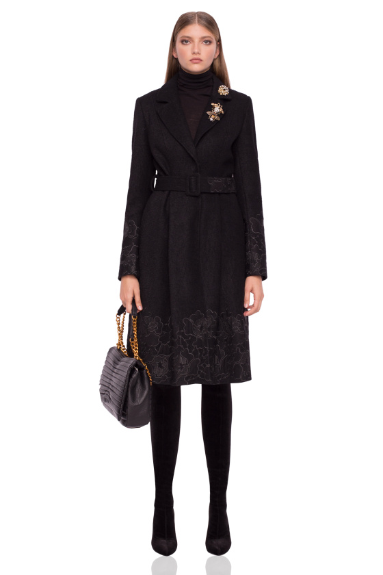 Coat with floral details