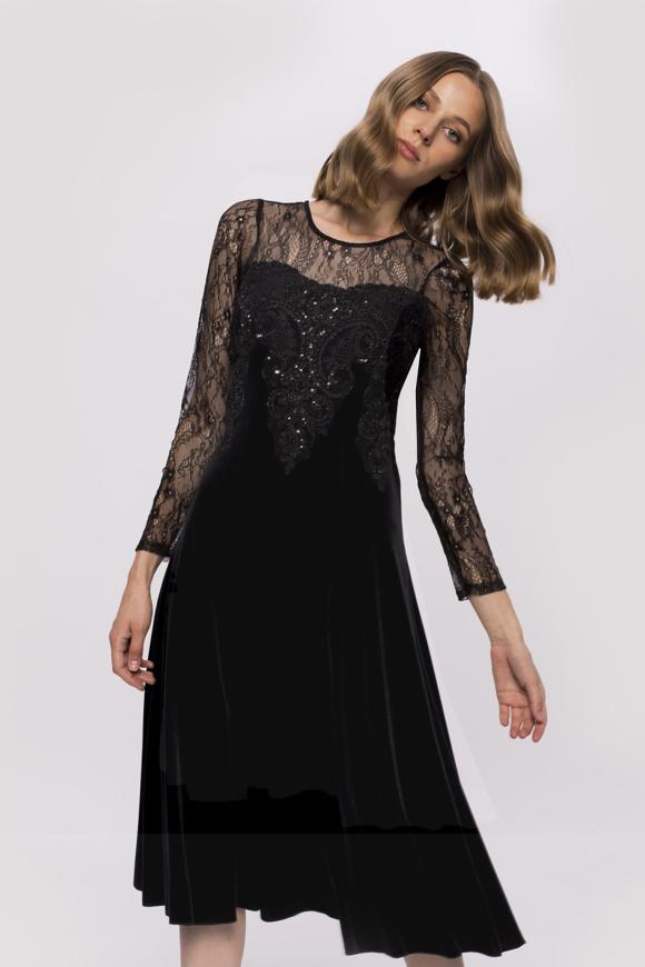 Rochie din catifea cu mâneci lungi din dantelă