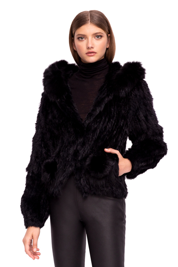 Rabbit fur hooded jacket