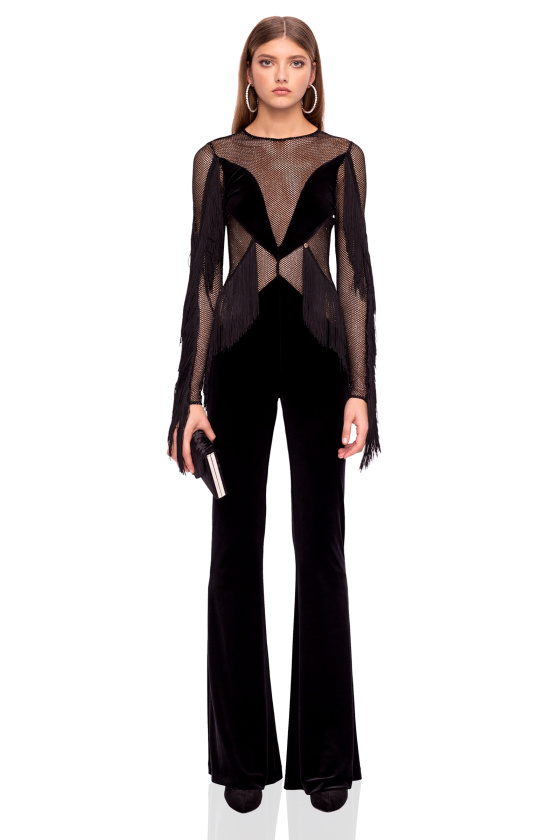 Velvet jumpsuit with fringe and lace
