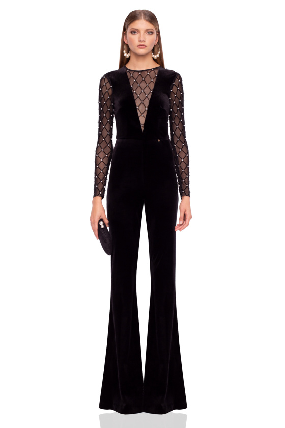 Velvet jumpsuit with pearl details