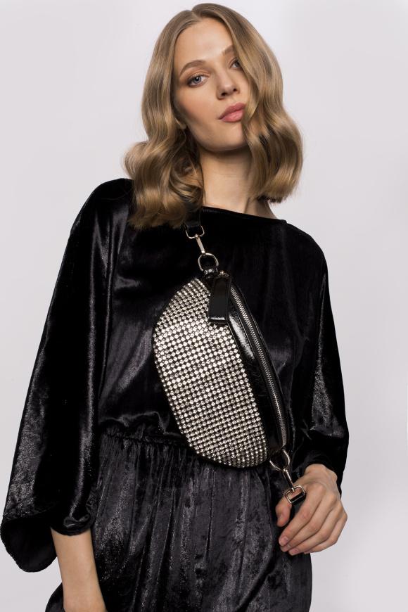 Rochie din catifea cu aspect metalic